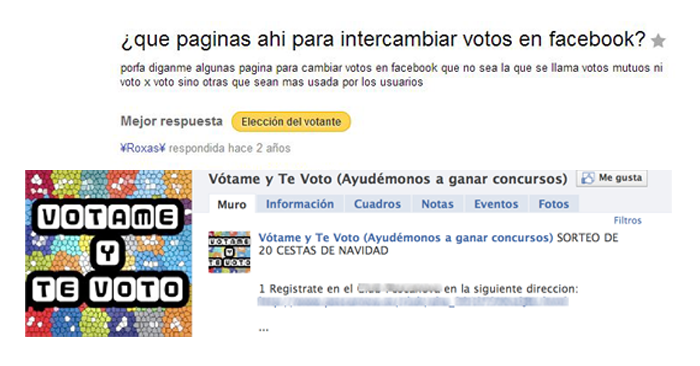 Intercambio de votos en Facebook