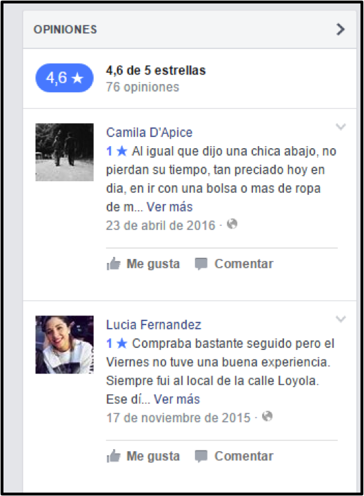 calificaciones en facebook